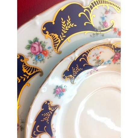 Vajilla de 56 piezas Isabel flores azul