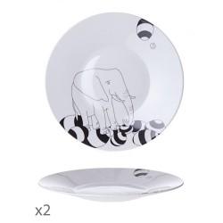 Juego de 2 platos llanos Animaux Toujours-Cristal de Sèvres