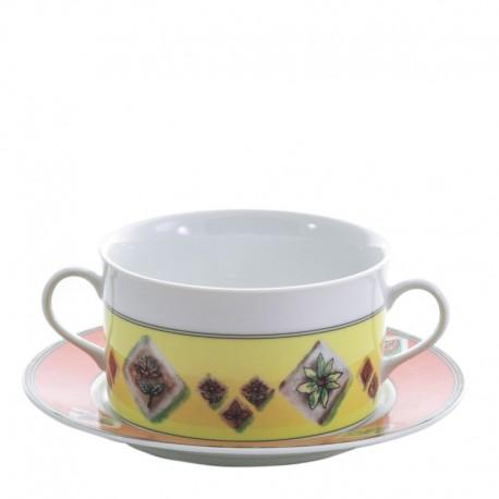 Taza y plato de consomé Cairo Thun Bohemia