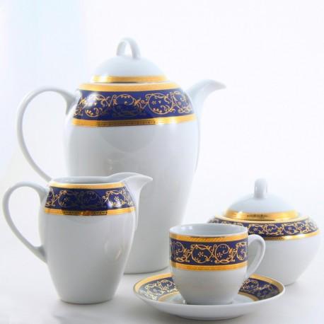Juego de café Saphyr azul Thun Bohemia