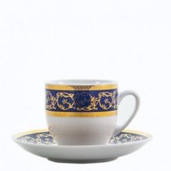 Taza y plato de café Saphyr azul Thun Bohemia