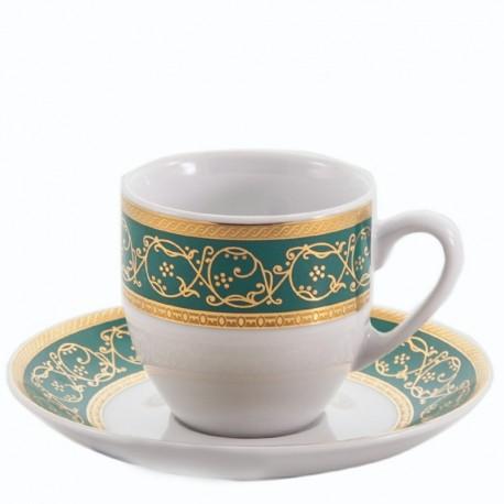 Taza y plato de café Saphyr verde Thun Bohemia