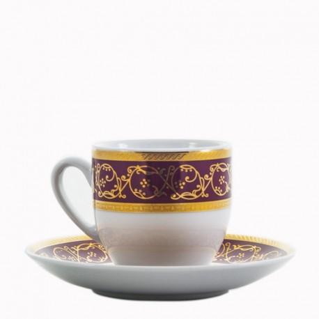 Taza y plato de café Saphyr granate Thun Bohemia