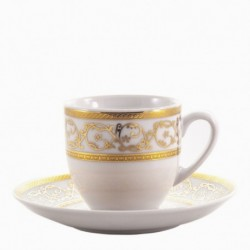 Taza y plato de café Saphyr blanco Thun Bohemia