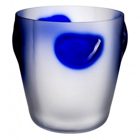 Florero Cosmos Blanco y azul mate 25 cm Bohemia