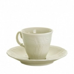 Taza y plato de cafe Bernadotte Marfil Bohemia