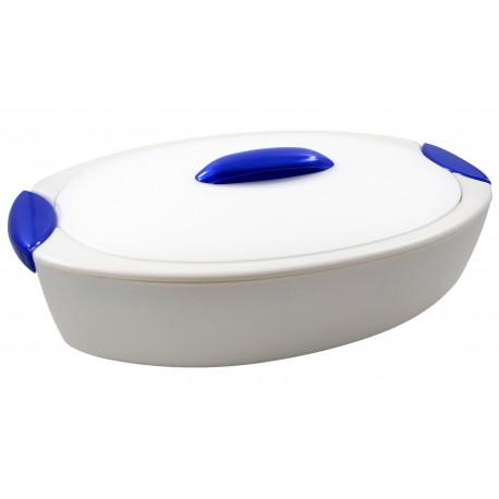 Recipiente térmico oval en color nácar-azul