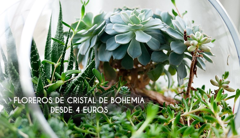 FLOREROS DE CRISTAL DE BOHEMIA